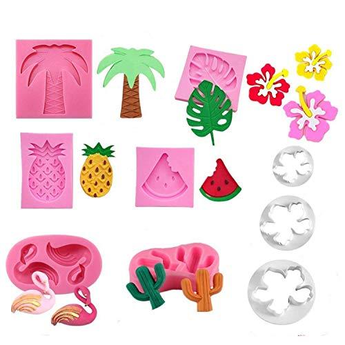 Jasonsy Hawaiian Tropical Rain Forest Theme Cake Fondant Mold SetFlamingoPineappleCactusWatermelonTropical LeafCoconut Palm TreeCoconut Tree Flower Candy Silicone Mold Cake Decoration9 pcs