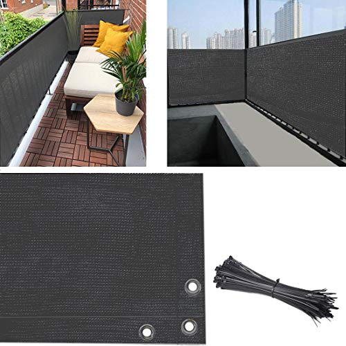 Balcony Privacy Screen Cover, 3.5ft x10ft Fence Screen Balcony Shield Cover UV-Resistant Visibility Reduction Windscreen Garden Fence with Cable Ties (3x10ft, Grey)