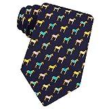 Men's Blue 100% Silk Equestrian Horse Blanket Horse Kentucky Derby Tie Necktie