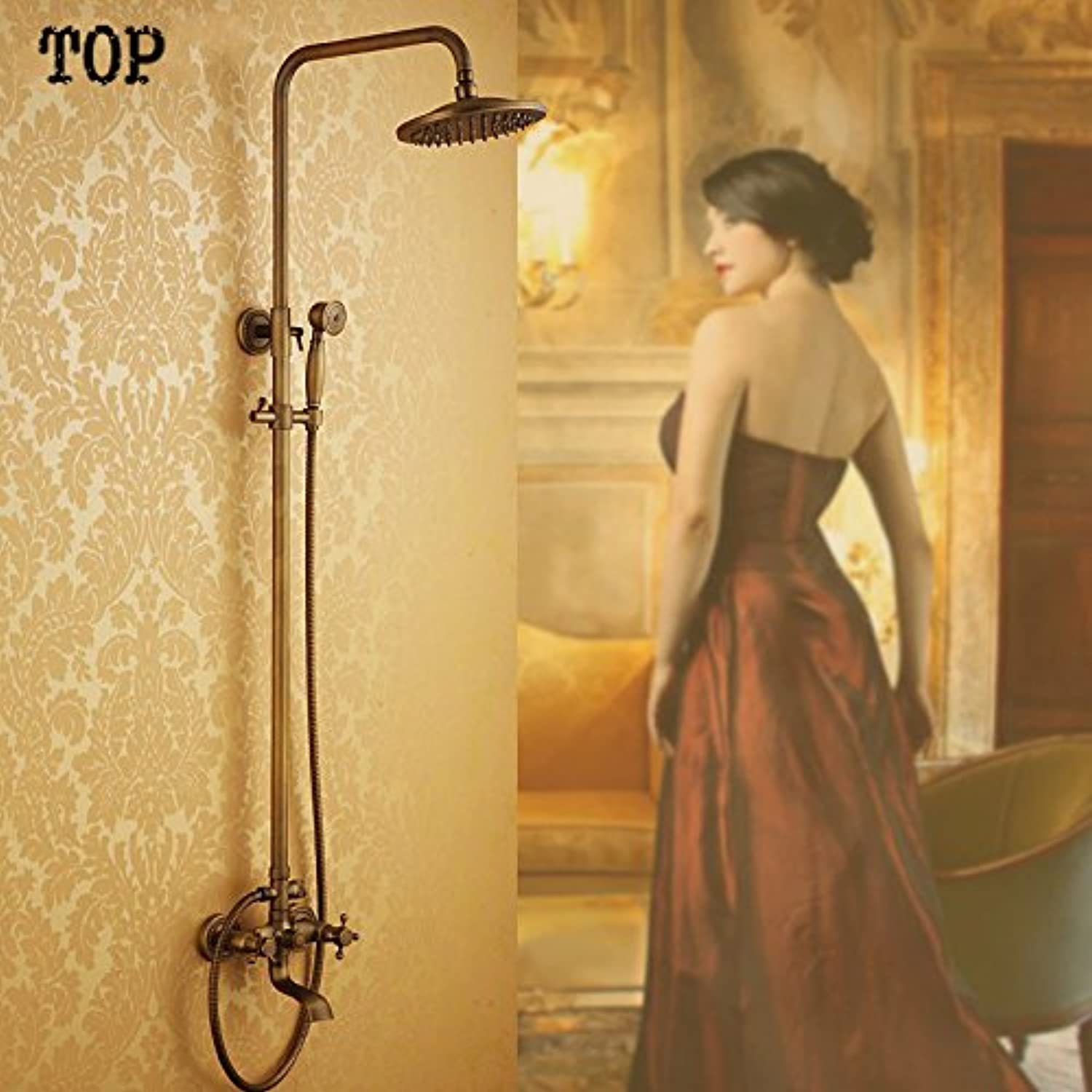 High quality antique bathroom shower set include 8 inch brass shower head and hand shower,Weiß