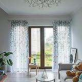 Rameng 1PC Rideaux de Fenêtre Rideau Voilage de Chambre Motif Feuilles Élégant Panneaux Voile de Fenêtre (Gris)