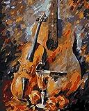 Cuadros pintura por números lienzo pintado a mano dibujo de dibujos animados Diy pintura al óleo por números violín abstracto-40X50Cmx1 piezas sin marco