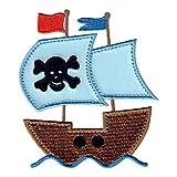 PatchMommy Piratenschiff Patch Aufnäher Applikation Bügelbild - zum Aufbügeln oder Aufnähen -...
