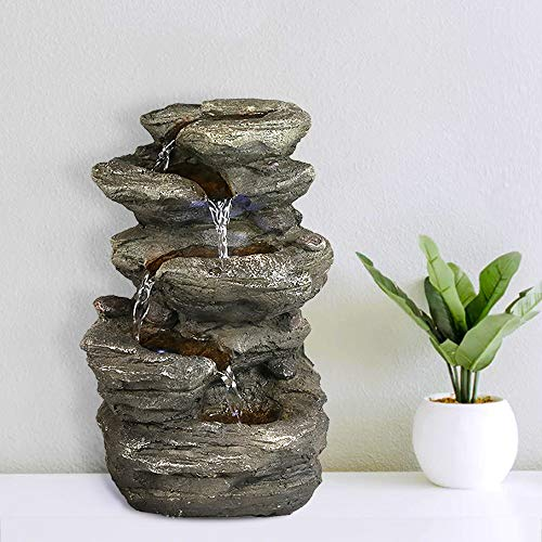 """Valentinyii 11"""" H Rock Fountain w/LED Lights - 5-Tier Rock Falls Tabletop Water Fountain - Indoor Small Cascading Rock Like Waterfall Fountain for Office and Home Décor"""
