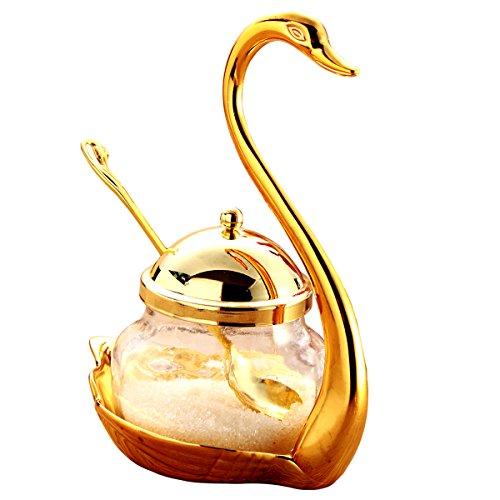 Tea Talent Condiment Pot Seasoning Container Spice Glass Jar Salt Sugar Bowl Pepper Coffee Storage Organizer Swan Rack with Serving Spoon,Golden