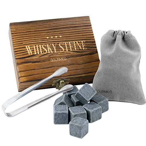 GOURMEO Cubetti da whisky (9 pezzi) in pietra ollare naturale cubetti riutilizzabili, pietre da whisky, whisky stones, pietre raffreddanti