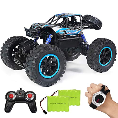 RC Car,JDBABY Remote Control Truck with Gesture Sensor Watch ,2.4Ghz 1/14 Scale Off Road Vehicle, All Terrain Hobby Toys Trucks for Boys Kids & Adults (Blue)