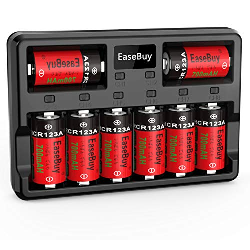 CR123A Rechargeable Batteries, EaseBuy 8-Pack 700mAH CR123A Batteries Rechargeable and 8-Port Fast Charger Compatible with Arlo VMC3030 VMK3200 VMS3330 3430 3530 Cameras, Alarm System