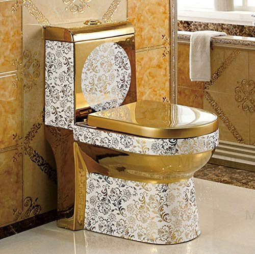 B Backline One Piece Ceramic Western Toilet Water Closet /Commode/European Commode/ Square S Trap Outlet Is From Floor For Bathroom (Gold) (Gold 3)