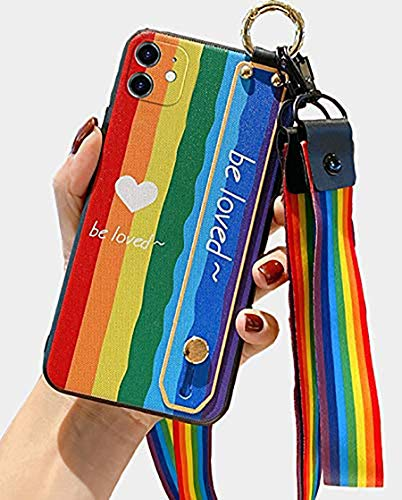 FLYEE Case Compatible with iPhone 12 Pro Max [6.7 inch],Cute case for Women and Girls,Rainbow Design Case with Strap&Convertible Stand&Lanyard&Shockproof