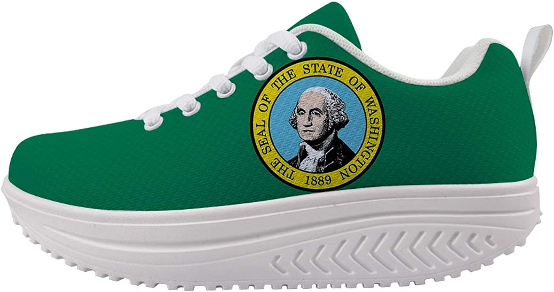 Owaheson Swing Platform Toning Fitness Casual Walking shoes Wedge Sneaker Women Evergreen State Washington Flag