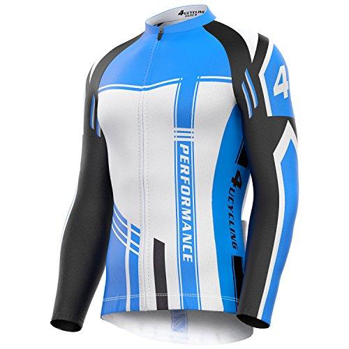 4ucycling Giacca con Cerniera e Traspirante a Maniche Lunghe t-Shirt Tops–Bike Biking Corsa, Ciclismo, Traspirante, Donna Uomo, White Giant, Small