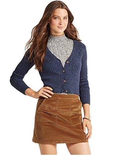 Aeropostale Womens Shrunken Cardigan Sweater, Blue, X-Small