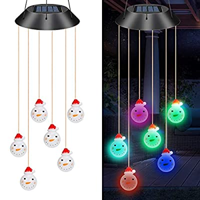 Global-store Solar Wind Chime, Snowman Color Changing LED Wind Chime, Waterproof Mobile Wind Chime with Hook, for Patio Yard Garden Christmas