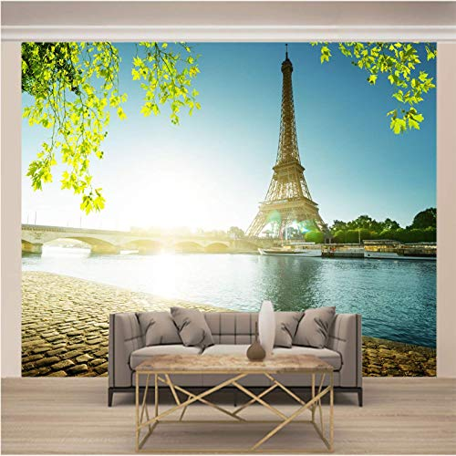Msrahves Fotomurales decorativos Sol puente torre 3D Fotomural Papel Pintado No Tejido Wallpaper TV murales papel para pared foto decorativo XXL Papel pintado tejido no tejido
