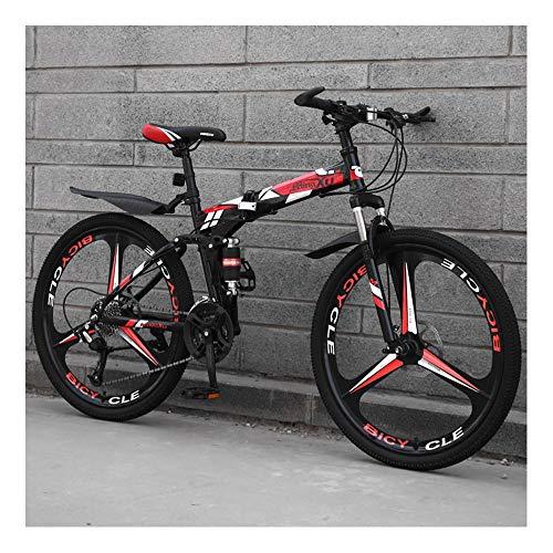 YCHBOS Mountain Bike Adulto, Bicicletas Montaña 24/26 Pulgadas Doble Suspension, 27 Velocidad Bicicleta Montaña Plegable, Marco de Acero de Alto Carbono, Doble Freno de DiscoA-26 Inch