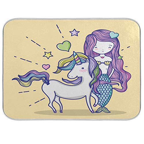 BGIFT Animal Unicorn Ocean Sirena plato de secado de platos de microfibra reversible absorbente para escurridor de platos, almohadilla protectora para cocina, mostrador de mesa, cafeterías, 40,6 x 45
