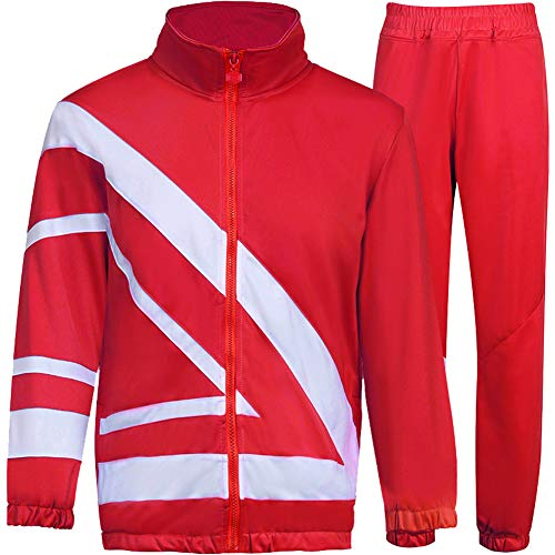 MACHLAB Men's Tracksuit 2 Piece Jacket & Pants Warm Jogging Athletic Suit Casual Full Zip Sweatsuit Gym Activewear Red XL#099