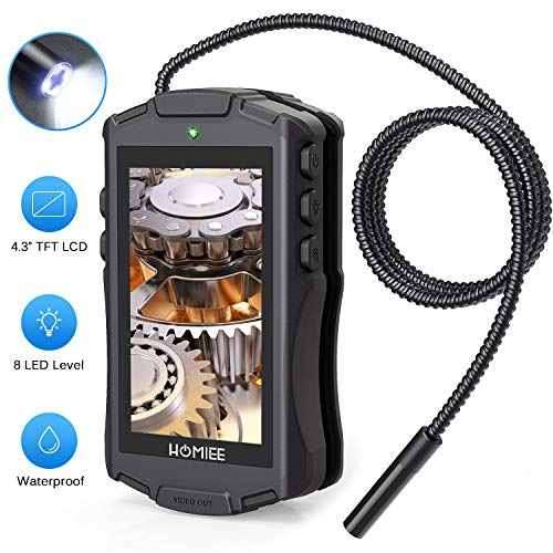 HOMIEE Endoskop Digitale Inspektionskamera, Flexible Endoskopkamera mit 4,3 Zoll LCD Bildschirm, IP67 wasserdichte Endoskopröhre, 8 Stufen LED Beleutung und 8mm Durchmesser
