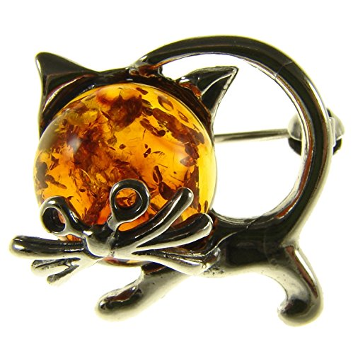 SA Brooches Baltic Amber and Sterling Silver 925 Cognac cat Kitten Animal Brooch pin Jewellery Jewelry