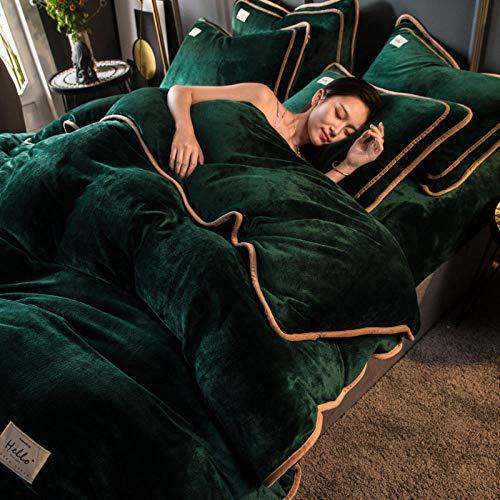Juego de ropa de cama con funda de edredón-Invierno grueso pigmento puro color de doble cara cálido antiestático franela cama individual funda nórdica individual funda de almohada regalo-segundo_Cama