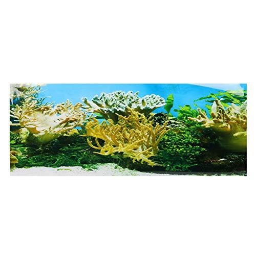 GOTOTOP Cartel del Tanque de Peces,Plantas de Agua Patrón de Coral Fondo del Acuario Cartel Etiqueta Adhesiva de PVC Decoración del Papel Pintado del Tanque de Peces(91 * 50cm)