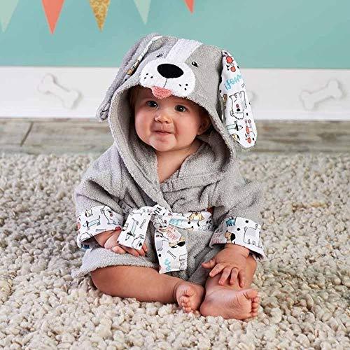 WSNBB 37 Designs mit Kapuze Tiermodell ing Baby-Bademantel/Karikatur-Baby-Spa Handtuch/Character Kinder Bademantel/Baby Strandtücher,Grau Hund normal