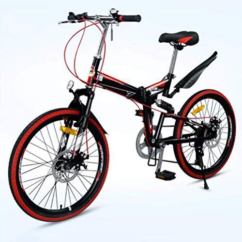 LFEWOZ 22 Zoll BMX-Fahrrad-Sicherheits-faltbares Gebirgsfahrrad, Für Erwachsene Teens Männer Frauen Damen Shopper Folding Cruiser Bikes 7 Speed City Fahrrad