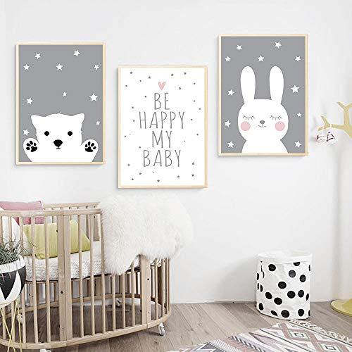 lulupila Bilder Poster Kinderzimmer Deko Babyzimmer Wohnzimmer A4 Kinderposter Kinderbilder Tiere Tiermotive Waldtiere für Kinder Junge Mädchen (3er Set - V1)