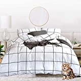 Jumeey Black and White Comforter Twin Plaid Bedding Set Teen Boys Girls Grid Gingham Comforter Duvets Cotton 3 PCS Buffalo Checkered Bed Comforters Twin Size