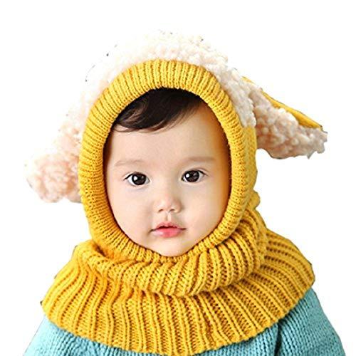 Elonglin Unisexe Bébé Enfant Chapeau Calotte Bonnet Cagoule Tricoté Oreilles de Chien Coiffe d'hiver Chaud Jaune