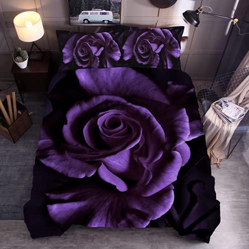 QQMHG Ropa de cama 3D rosas de 200 x 200 cm, funda de edredón y fundas de almohada de microfibra (A2,135 x 200 cm + 1 x 50 x 75 cm)