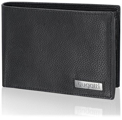 Bugatti Cali Geldbörse Herren Leder – Portemonnaie Herren Querformat Schwarz – Geldbeutel Portmonee Wallet Brieftasche Männer Portmonaise