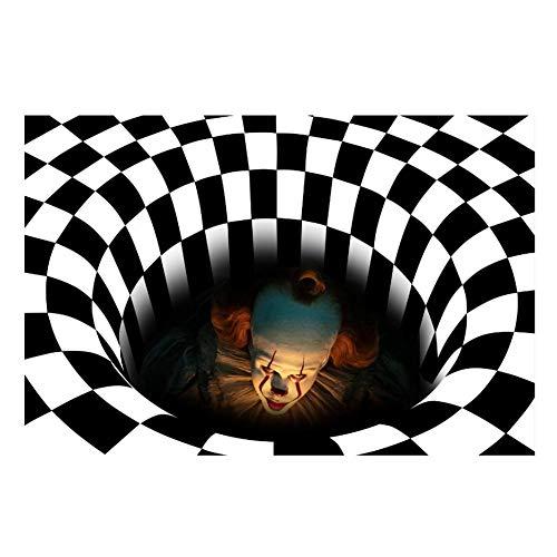 3D Visual Vortex payaso Suelo Alfombra decoraciones de Halloween del payaso Felpudo Felpudo payaso Decoración horror Felpudo Inicio Felpudo antideslizante para la decoración de Halloween, 40x60cm,3 pcs,50x80cm