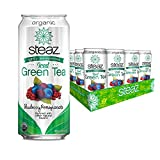 Steaz Organic Lightly Sweetened Iced Green Tea, Blueberry Pomegranate, 16 FL OZ (Pack of 12)