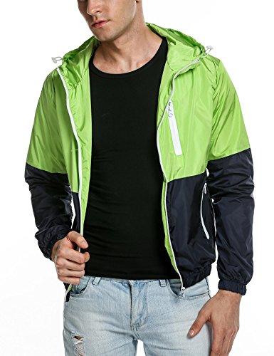 COOFANDY Mens Quick Dry Windbreaker Summer Lightweight Hooded Sun Protection Outwear,Green,Medium