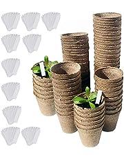DECARETA 100 PCS Macetas de Fibra con Etiqueta de Planta de PVC,Semilleros Biodegradables,Cuenca de Pulpa Biodegradable,Orgánico y Ecológico Adecuado para el Cultivo de Diversas Plántulas