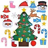FORMIZON Feltro Albero Natale, Albero di Natale in Feltro, 26 Ornamenti Staccabili Regali di Natale di Nuovo Anno per Bambini Regalo, Casa, Ufficio, Negozio, Finestra Decor