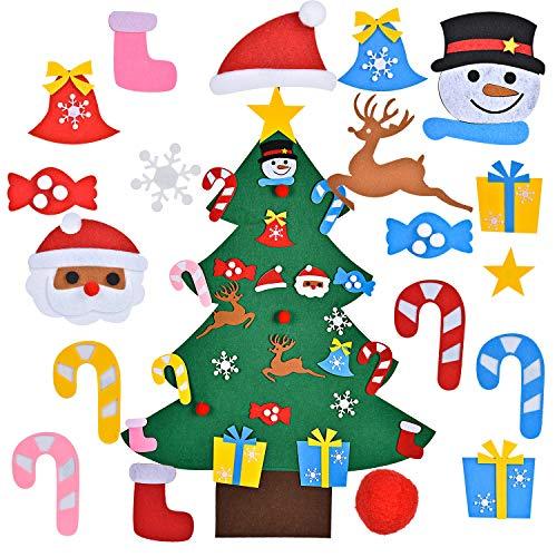 FORMIZON Filz-Weihnachtsbaum, DIY Weihnachtsbaum, Dekoration Hängend Dekor mit 26 Abnehmbaren Hängenden Ornamenten, DIY Filz Weihnachtsbaum für Weihnachten, Wand Dekoration