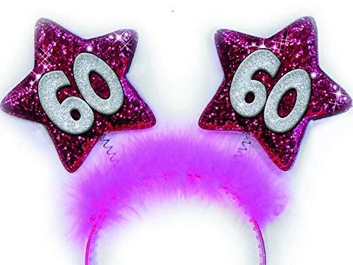 Partycolarità Cerchietto Fuxia 60 Anni Stelle Glitter - Gadget Divertente Sessanrtesimo Compleanno