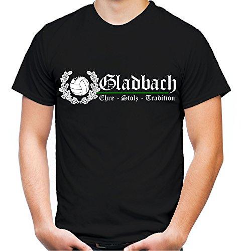 Gladbach Ehre & Stolz Männer und Herren T-Shirt | Fussball Ultras Geschenk | M2 FB (S, Schwarz)
