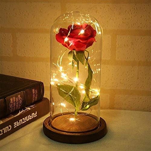 Kyman La Bella e la Bestia Red Eternal Rose in Un Bicchiere Cupola con LED Base in Legno for San Valentino S Madre S Collezionismo