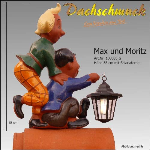 Dachschmuck Firstfigur Max und Moritz mit Solarlaterne