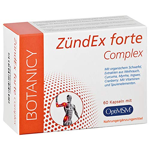 ZÜNDEX FORTE COMPLEX, Kombipräparat bei Entzündungen und Schmerzen, mit hochdosiertem OptiMSM, Weihrauch, Ingwer und Curcuma (60 Kapseln, Monatspack)