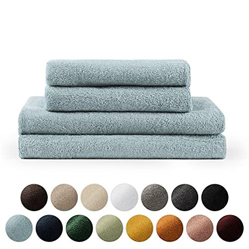 Blumtal Handtücher Set 2 Badetücher 70x140 + 2 Handtücher 50x100 - weich und saugstark, 100{733c75e382a758d6dcef2fd41458a6759489e5d854c4a0a9450cbb024acf0d7e} Baumwolle, Oeko-Tex 100 Zertifiziert, Light Blue
