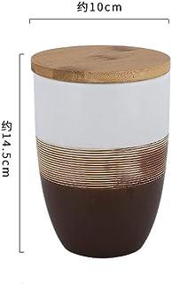 ZHTY Pots de Rangement en céramique Exqusite avec Couvercle en Bois, contenants de Cuisine hermétiques de Style rétro pour...