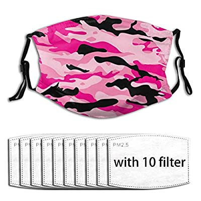 Camouflage Reusable Activated Carbon Filter Face Shield With 10 Filter Replaceable for Men Women