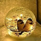 Glass Ball LED Light Birds Pattern Wireless Crackle Glass Light Warm White Night Lamp for Bedroom Living-Room Dresser Nursery Kitchen Garden Modern Glass Decoration Glass Craft