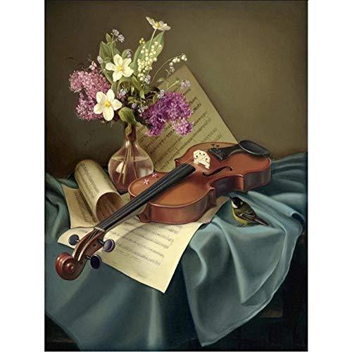 SDHJMT nummer voor beginners digitale schilderkunst viool kunst abstracte acrylverf set canvas DIY olieschilderij voor volwassenen beste cadeau 16x20inch