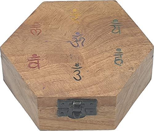 Caja de madera de almacenamiento para piedras de 7 chakras